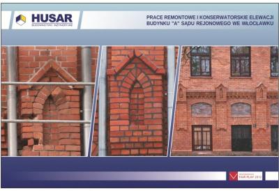 Prace remontowe i konserwatorskie elewacji budynku A Sądu Rejonowego we Włocławku