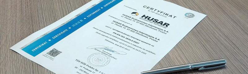 Certyfikat dla Spółki HUSAR