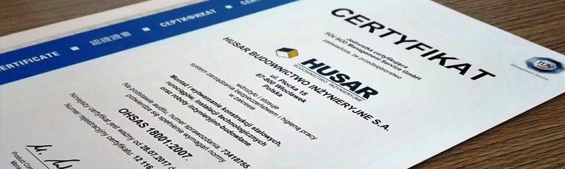 Certyfikat OHSAS 18001:2007 dla Spółki HUSAR